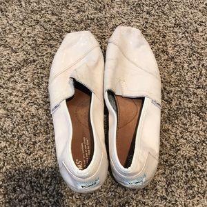 White glitter Toms size 9.5